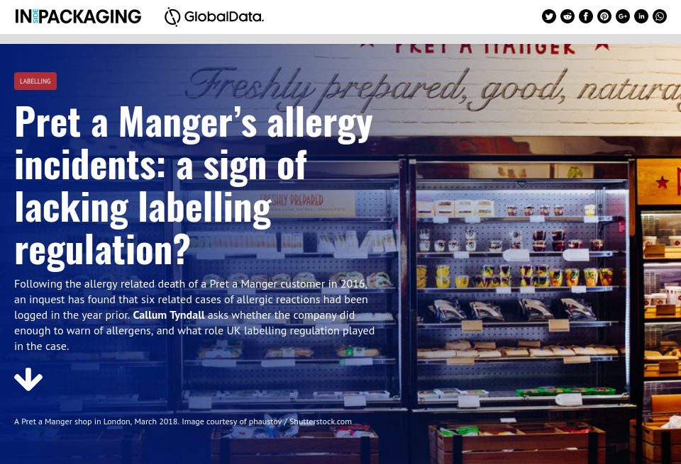 Pret a Manger's allergy incidents: a sign of lacking